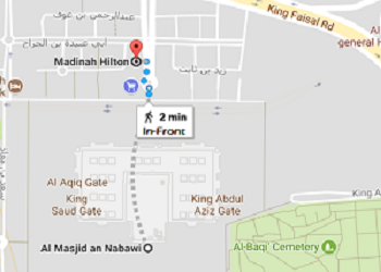 Hilton Hotel Madinah Distance from Masjid Nabawi